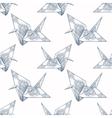 Origami ornate crane seamless pattern vector image