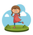 cute little girl character vector image