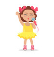 singing girl with bows on head little singer vector image