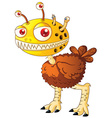 Monster with worms in head vector image vector image