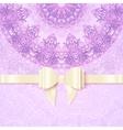 Purple vintage lacy wedding card template vector image