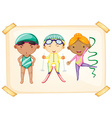 A frame with three sporty kids vector image