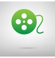 Film circular Green icon with shadow vector image
