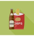 Beer and chips icons vector image