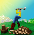 Man chopping wood vector image