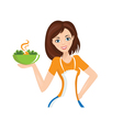 woman with bowl vector image