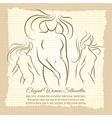 Woman silhouettes set on vintage background vector image