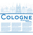 outline cologne skyline with blue buildings and vector image