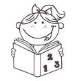 Child reading book cartoon vector image vector image