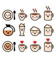 Cute coffee cappuccino and espresso kawaii icon vector image