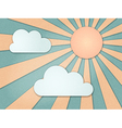 Vintage background rays sky clouds vector image