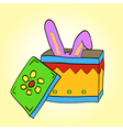 rabbit ears stick out of the magic box vector image