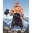 cartoon angry man modern viking with hammer vector image