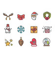 christmas icons colorful vector image