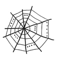 Doodle spiderweb isolated on white background vector image