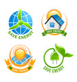 Save energy solar wind eco power symbol set vector image