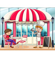 Cafe scene with chef and customer vector image