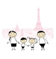 Happy family traveling in Paris Sketch for your vector image