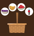 color background with picnic basket with icons vector image