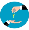 Hand giving key vector image