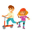 happy children girl and boy skating roller scooter vector image