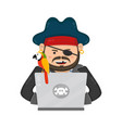 internet pirate with a laptop computer and parrot vector image