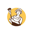Maid Cleaner Duster Circle Retro vector image
