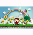 sunflower and boy vector image