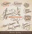 CHRISTMAS GREETINGS hand lettering set vector image