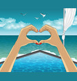 heart shape from the hands on luxury resort vector image