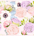 seamless pattern with anemones and roses vector image