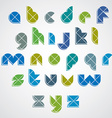 Colorful spherical sectored font with diagonal vector image