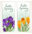 Hello spring banners with yellow and purple vector image
