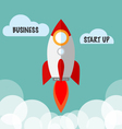 Business Start Up Concept With Flat Rocket vector image