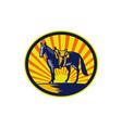 Horse Western Saddle Oval Woodcut vector image