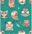 Cute hand drawn owl seamless pattern vector image vector image