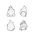 fire icon set outline style vector image