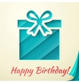 Happy birthday retro card with gift box vector image