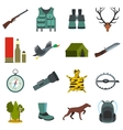 Hunting flat icons vector image