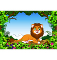 lion cartoon sitting in the jungle vector image