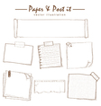 paper and post-it collection sketch drawing vector image