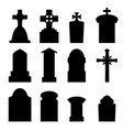 set of headstone and tombstone in silhouette vector image