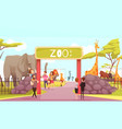 zoo entrance gate cartoon vector image