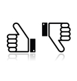 Thumb up and down black icon - social media vector image vector image
