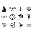 Summer sea icons set vector image vector image