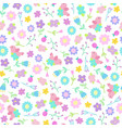 cute flowers and birds seamless pattern vector image vector image