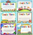Diploma templates for primary school vector image