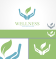 Hands Leaf Green Wellness Health Logo template vector image