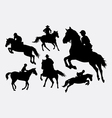 Male and female people riding horse sport action s vector image