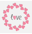 Round love frame with pink hearts Isolated Flat vector image